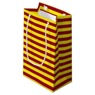 Bolsa De Regalo Pequeña Borgoña y rayas amarillas