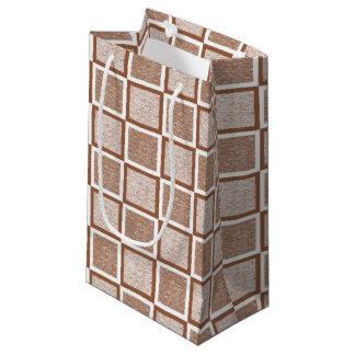 Bolsa De Regalo Pequeña Brown estático y casillas blancas