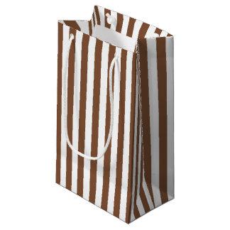 Bolsa De Regalo Pequeña Brown vertical y rayas blancas