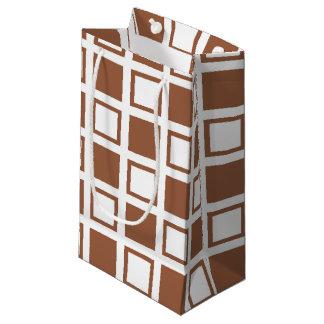 Bolsa De Regalo Pequeña Brown y casillas blancas