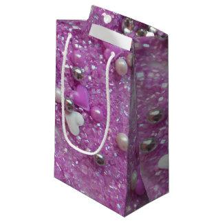 Bolsa De Regalo Pequeña Chispas de la púrpura y corazones del amor