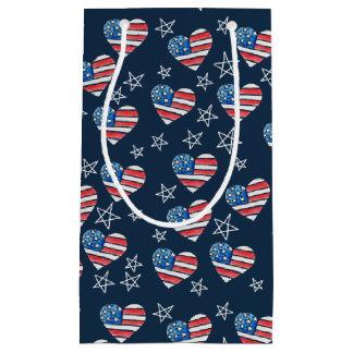Bolsa De Regalo Pequeña Corazón de la bandera americana