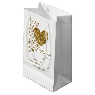 Bolsa De Regalo Pequeña Corazón del brillo del oro y el casarse de las