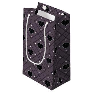 Bolsa De Regalo Pequeña Corazones y modelo negros de la tela escocesa de