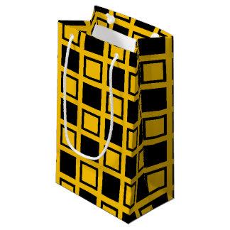 Bolsa De Regalo Pequeña Cuadrados del negro y del oro