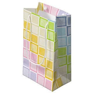 Bolsa De Regalo Pequeña Cuadrados en colores pastel estáticos del arco