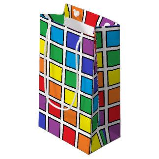 Bolsa De Regalo Pequeña Cuadrados resumidos negro del arco iris
