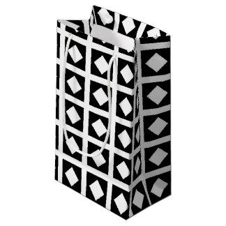 Bolsa De Regalo Pequeña Diamantes blancos y casillas negras