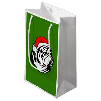 Bolsa De Regalo Pequeña Dogo con el gorra de Santa del navidad