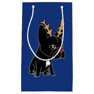 Bolsa De Regalo Pequeña Dogo francés divertido con navidad de las astas