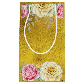 Bolsa De Regalo Pequeña Efecto metalizado de oro con los rosas del vintage