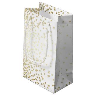 Bolsa De Regalo Pequeña El confeti del oro puntea el boda blanco elegante