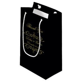 Bolsa De Regalo Pequeña El Flourish elegante del corazón del negro y del