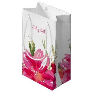 Bolsa De Regalo Pequeña El fucsia florece bolsos del favor del boda