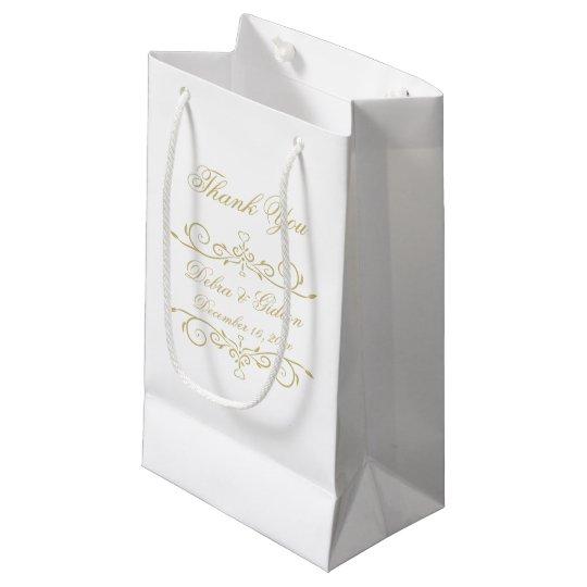 Bolsa De Regalo Pequeña El monograma elegante del blanco y del oro le