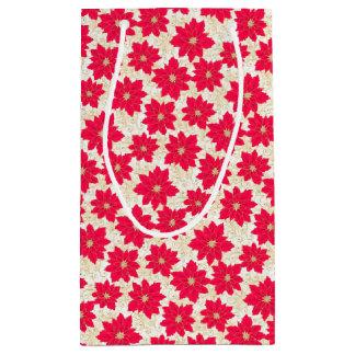 Bolsa De Regalo Pequeña El Poinsettia rojo con oro remolina los saludos de