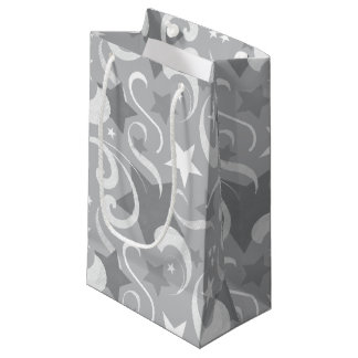 Bolsa De Regalo Pequeña Elegante, gris, estrellas, blanco, remolino,