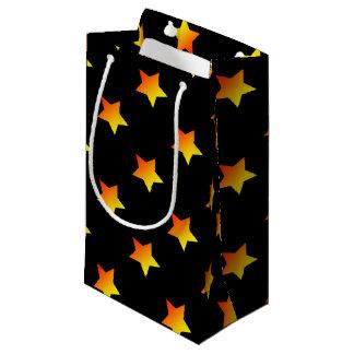 Bolsa De Regalo Pequeña Estrella anaranjada brillante en negro