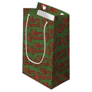 Bolsa De Regalo Pequeña Felices Navidad rojas en fondo cambiable