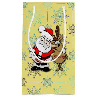 Bolsa De Regalo Pequeña Felices Navidad Santa y Rudy - bolso del regalo