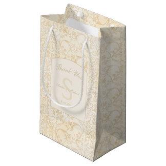 Bolsa De Regalo Pequeña La nata floral del damasco y el boda beige le