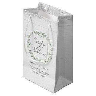 Bolsa De Regalo Pequeña Madera rústica y bolso botánico del favor del boda