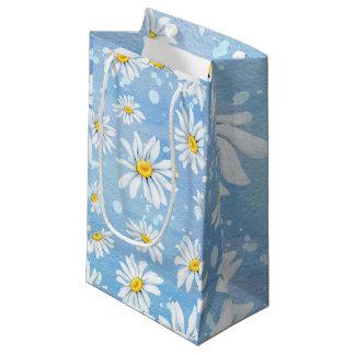 Bolsa De Regalo Pequeña Margaritas blancas en azul