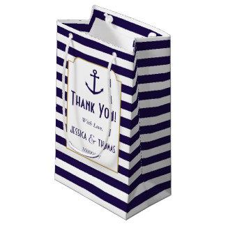 Bolsa De Regalo Pequeña Marina de guerra náutica y boda blanco del ancla