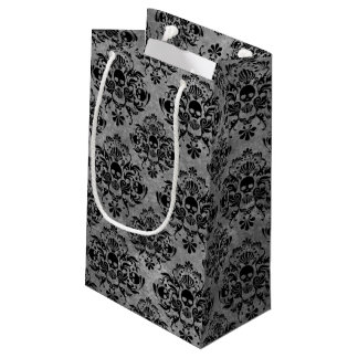 Bolsa De Regalo Pequeña Mini gris del negro del modelo del damasco del