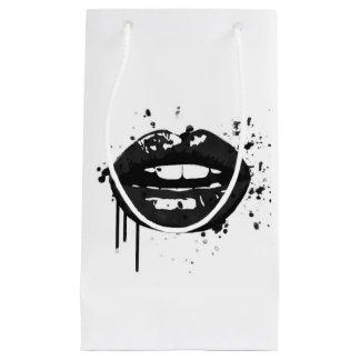 Bolsa De Regalo Pequeña Moda blanco y negro del beso del maquillaje de la