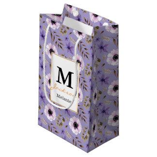 Bolsa De Regalo Pequeña Modelo botánico floral púrpura dibujado romántico
