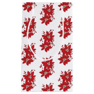 Bolsa De Regalo Pequeña Modelo rojo del navidad del Poinsettia