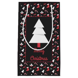 Bolsa De Regalo Pequeña Navidad blanco de la pizarra del árbol