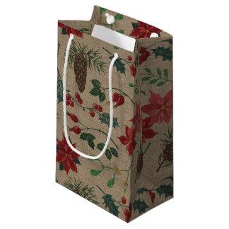 Bolsa De Regalo Pequeña Navidad botánico tradicional