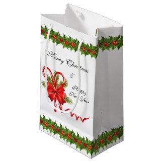 Bolsa De Regalo Pequeña Navidad de las bayas del acebo y bastones de