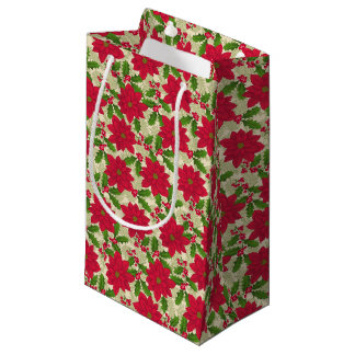 Bolsa De Regalo Pequeña Navidad hermoso Poinsettia, acebo, rama del pino