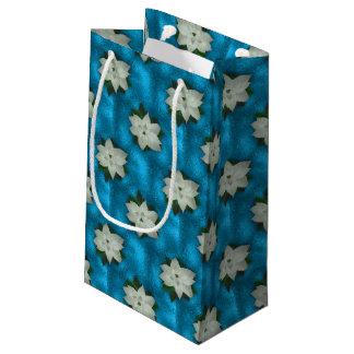 Bolsa De Regalo Pequeña Navidad hermoso Poinsettia y verdor blancos