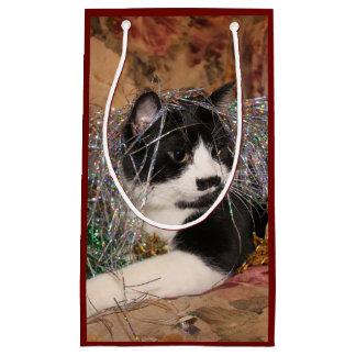 Bolsa De Regalo Pequeña Navidad travieso del gatito del smoking