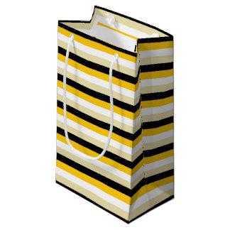 Bolsa De Regalo Pequeña Oro, blanco, beige y rayas negras