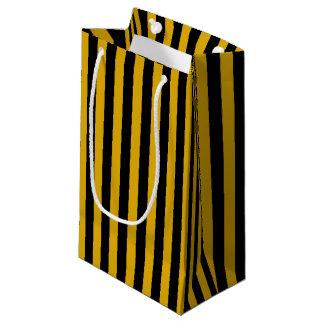 Bolsa De Regalo Pequeña Oro y rayas negras verticales