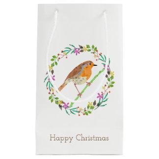 Bolsa De Regalo Pequeña Petirrojo el pájaro del navidad