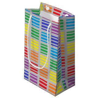 Bolsa De Regalo Pequeña Plata de los cuadrados y de las rayas del arco