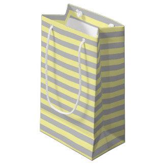 Bolsa De Regalo Pequeña Plata y rayas amarillas suaves