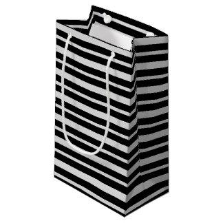 Bolsa De Regalo Pequeña Plata y rayas negras gruesas y finas