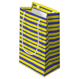 Bolsa De Regalo Pequeña Rayas azules y amarillas gruesas y finas