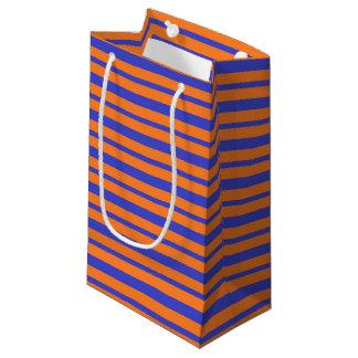 Bolsa De Regalo Pequeña Rayas azules y anaranjadas gruesas y finas