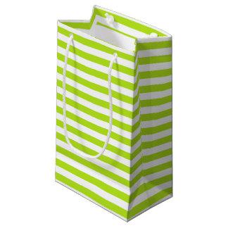 Bolsa De Regalo Pequeña Rayas de la verde lima y del blanco