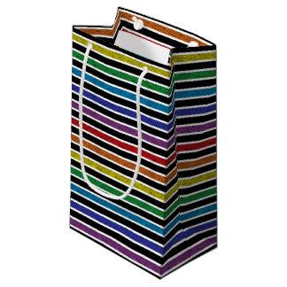 Bolsa De Regalo Pequeña Rayas estáticas resumidas blanco del arco iris