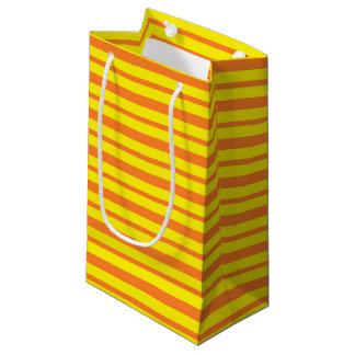 Bolsa De Regalo Pequeña Rayas gruesas y finas del naranja y del amarillo