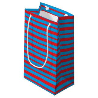 Bolsa De Regalo Pequeña Rayas gruesas y finas del rojo y de la turquesa